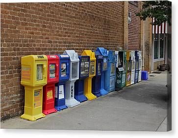 Newspaper Boxes Canvas Print