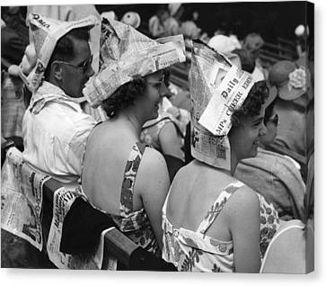 Newspaper Hats Canvas Print by Fox Photos