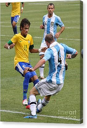 Neymar Junior Canvas Print - Neymar Breaking Ankles II by Lee Dos Santos