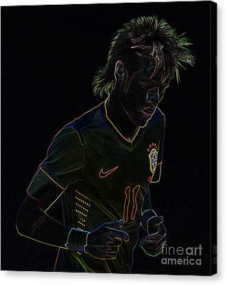 Neymar Junior Canvas Print - Neymar Neon by Lee Dos Santos