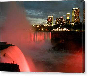 Niagara Falls At Night Canvas Print by Mark J Seefeldt