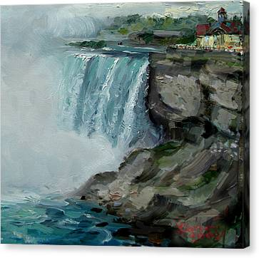 Lanscape Canvas Print - Niagara Falls Rocks by Ylli Haruni