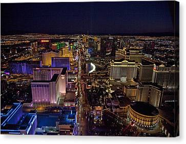 Night Aerial View Of The Las Vegas Canvas Print by Everett