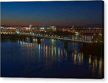 Canvas Print featuring the photograph Night Bridges by Josef Pittner