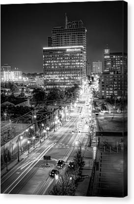 Canvas Print featuring the photograph Night City by Anna Rumiantseva