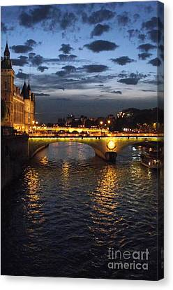 Night Fall Over The Seine Canvas Print by Shawna Gibson