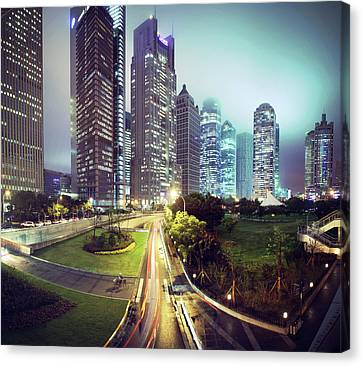Night Fog Over Shanghai Cityscape Canvas Print by Blackstation