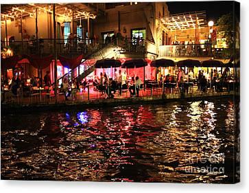 Night Glow On River Walk Canvas Print