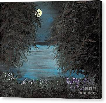Canvas Print featuring the painting Night In The Bayou by Alys Caviness-Gober