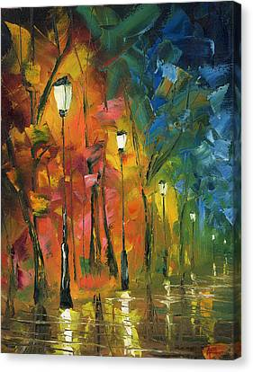 Night In The Park Canvas Print by Ash Hussein