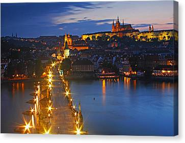 Night Lights Of Charles Bridge Or Canvas Print