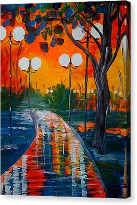 Canvas Print featuring the painting Night Reflections by Judi Goodwin