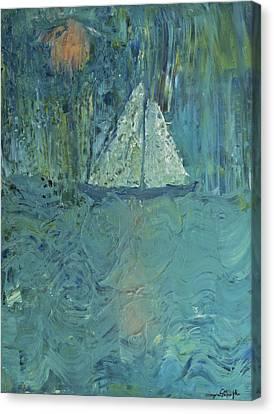 Night Sail Canvas Print by Wayne Potrafka