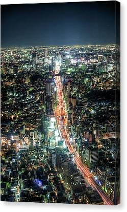 Night Scape In Tokyo Canvas Print by Toshiro Shimada