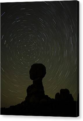 Night Sky Over Balanced Rock Canvas Print by Andrew Soundarajan
