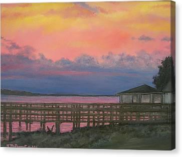Night Sky Over Lake Marion Canvas Print by Kathleen McDermott