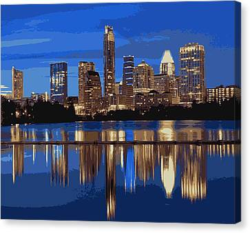 Night Skyline Color 16 Canvas Print by Scott Kelley