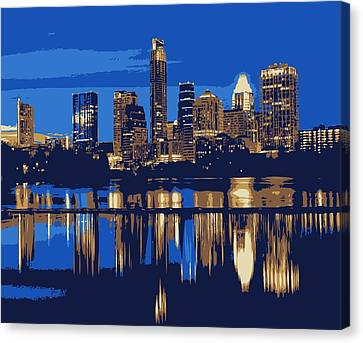 Night Skyline Color 6 Canvas Print by Scott Kelley