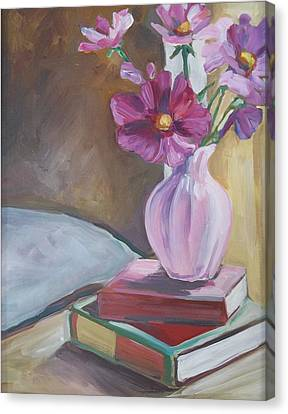 Night Stand With Flowers And Books Canvas Print by Michelle Grove