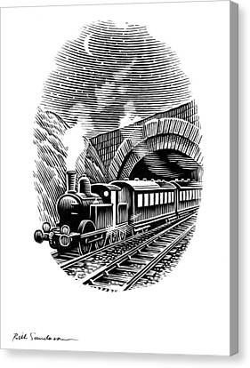 Night Train, Artwork Canvas Print by Bill Sanderson