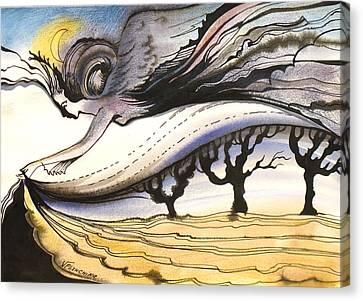 Canvas Print featuring the painting Night by Valentina Plishchina