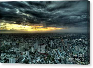Night View Of Bangkok Canvas Print by Anek Suwannaphoom