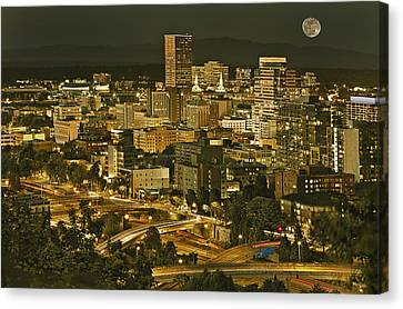 Night View Of Portland City Downtown Canvas Print by Tatiana Boyle