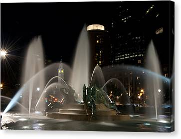 Night View Of Swann Fountain Canvas Print
