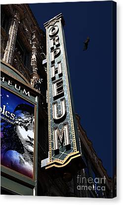 Canvas Print featuring the photograph Nightfall At The Orpheum - San Francisco California - 5d17991 by Wingsdomain Art and Photography