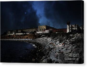 Nightfall Over Hard Time - San Quentin California State Prison - 5d18454 Canvas Print by Wingsdomain Art and Photography