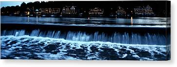 Nighttime At Boathouse Row Canvas Print by Bill Cannon