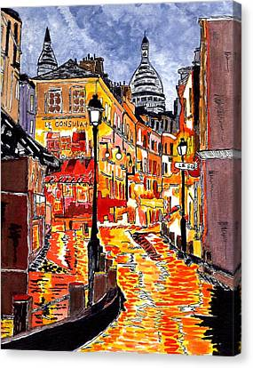 Nighttime In Paris Canvas Print by Connie Valasco