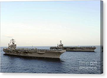 Nimitz-class Aircraft Carriers Transit Canvas Print by Stocktrek Images