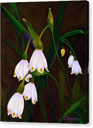 Canvas Print featuring the painting Nina's Snowflake Bells by Jodi Terracina