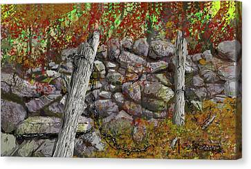 Canvas Print featuring the drawing N.j. Rock Fence by Jim Hubbard