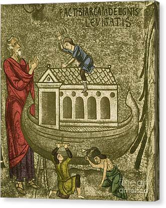 Noah Building The Ark Canvas Print by Photo Researchers