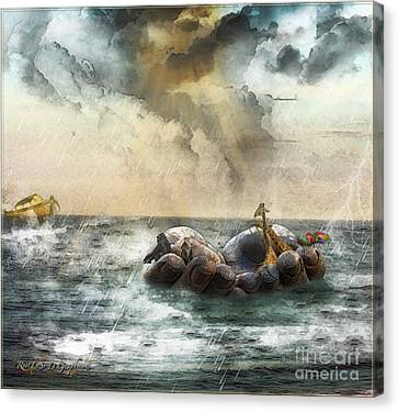 Canvas Print featuring the digital art Noah's Ark Stragglers by Rhonda Strickland