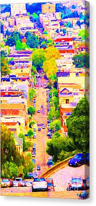 Noe Street In San Francsico 2 . Long Cut Canvas Print by Wingsdomain Art and Photography