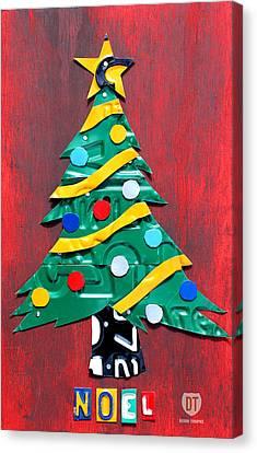 Noel Christmas Tree License Plate Art Canvas Print
