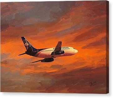 Nolinor Aviation Boeing 737 Leaves Montreal Mirabel Canvas Print