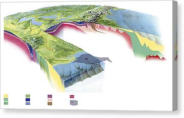 Oil Slick Canvas Print - North American Geology And Oil Slick by Gary Hincks
