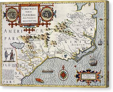 North Carolina Canvas Print by Jodocus Hondius
