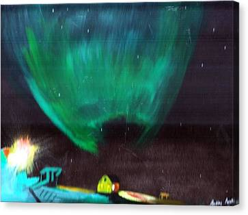 Canvas Print featuring the painting Norther Lights 4 by Audrey Pollitt