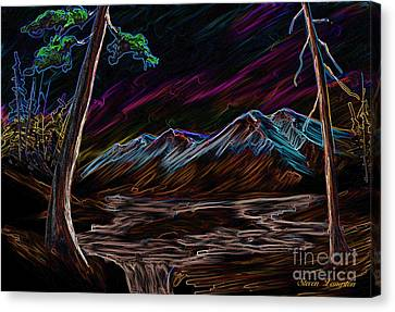 Canvas Print featuring the painting Northern Lights by Steven Lebron Langston