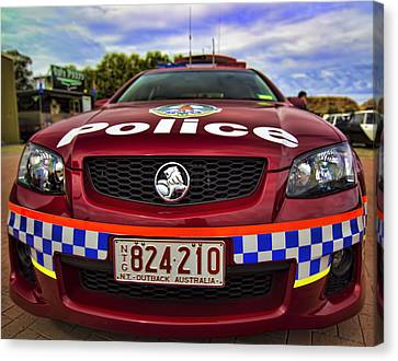 Canvas Print featuring the photograph Northern Territory Police Car by Paul Svensen