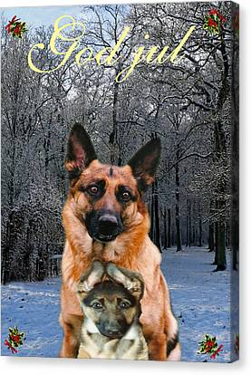 Friend Holiday Card Canvas Print - Norwegian  Christmas Holiday German Shepherd And Puppy God Jul by Eric Kempson