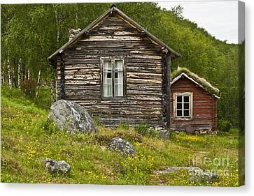 Norwegian Timber House Canvas Print by Heiko Koehrer-Wagner