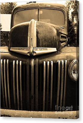 Canvas Print featuring the photograph Nostalgic Rusty Old Ford Truck . 7d10281 . Sepia by Wingsdomain Art and Photography