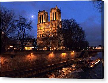 Notre Dame By Full Moon Canvas Print by Amelia Racca