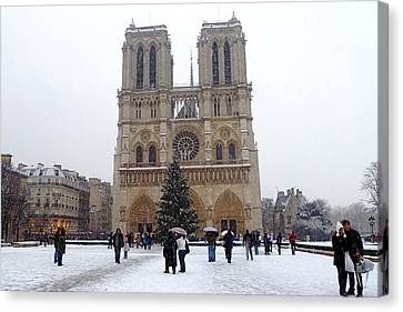 Notre Dame Christmas Paris Canvas Print by Amelia Racca